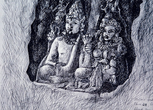 Pen and Ink: The Wedding of Shiva & Parvati