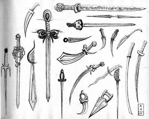 Pen and Ink: Swords
