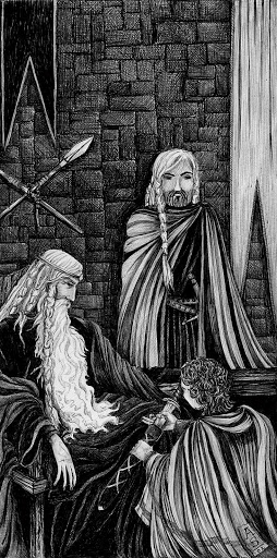Pen and Ink: Merry Swears Fealty to Theoden