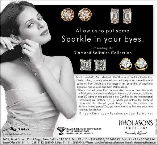 Advertisement: Bholasons Jewellers 2002, for Newspapers