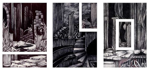 Pen and Ink: Lost Eden I, II, III (Triptych)