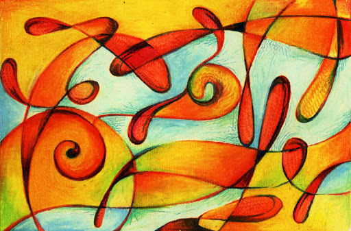 Oil Pastels: Reds and Blues Abstract