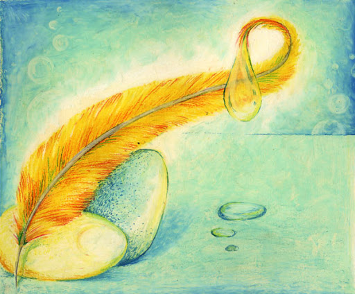 Oil Pastels: Feather and Egg