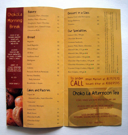 Collateral: Choko La Home Delivery Menu