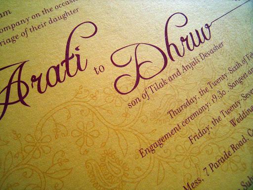 Wedding Card: Arati and Dhruv