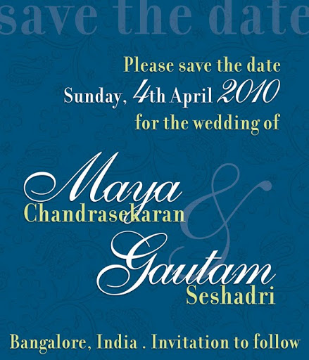 eInvite: Maya and Gautam's 'Save the Date'