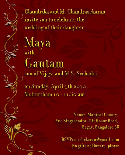 eInvite: Maya and Gautam's Wedding