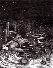 Arati Devasher's pen and ink drawing titled 'River of Dreams'. 2014. Artist's collection.